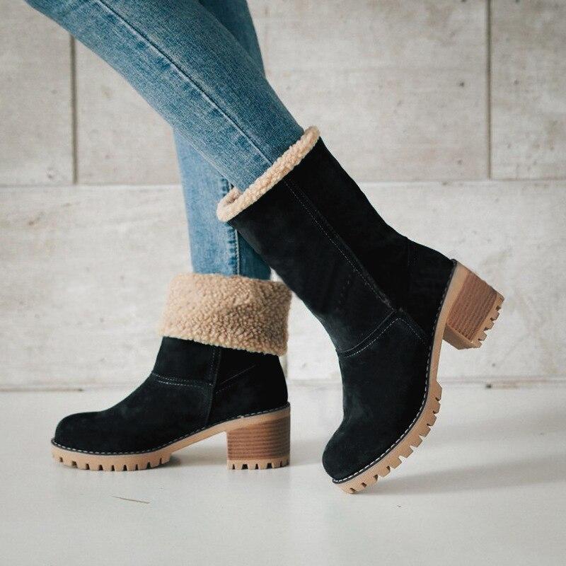 여성 캐주얼 패션 따뜻한 눈 겨울 발목 부츠 광장 하이힐 플랫폼 신발 여성 botas zapatos 드 zapatillas mujer-에서앵클 부츠부터 신발 의  그룹 1