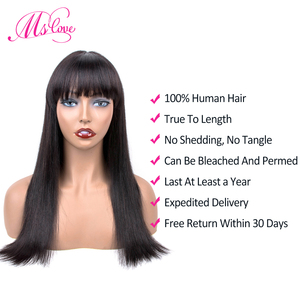 Human Hair Wigs Bob Wig Short Human Hair Wig With Bangs For Black Women Natural Color Straight Brazilian Bang Wig Ms Love