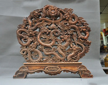 Old China Chinese Boxwood wood Fengshui auspicious 9 Dragons Dragon Loong Statue