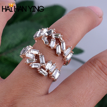 Womens Rings Fashion Finger Accessories Wedding Bands Handmade Trapezoid Rhinestone Ring Rose Gold Big
