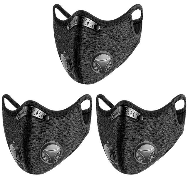 3PCS Sport Face Mask With Filter PM 2.5 Anti-Pollution Running Cycling mouth Masks protection respirator facemask
