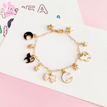 2019 fashion new Bracelet lovely butterfly Pentagon moon star cat for girl women Golden Bracelet Accessories Party Wedding(China)