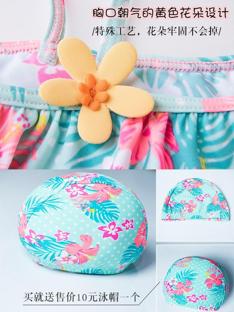 KID'S Swimwear GIRL'S Three 3 To 4 Years Old Women's Princess Small Floral Sloping Shoulder Baby Loli Split Bikini Swimwear