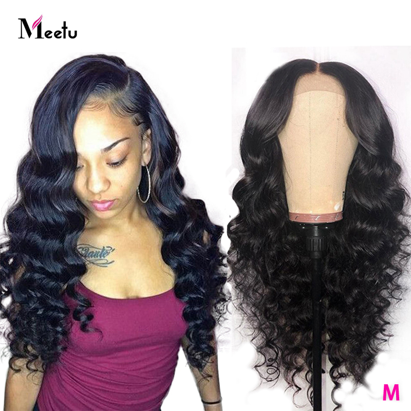 Meetu 4X4 Lace Closure Wig Loose Wave Human Hair Wigs For Black Women Brazilian Lace Front Human Hair Wigs Pre-Plucked