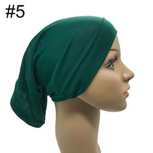 Image 4 - 1PCS Heißer verkauf Moslemische innere Kopftuch Frauen Hijab Stretch Elastische Underscarf Islamischen inneren Kappen rohr schal