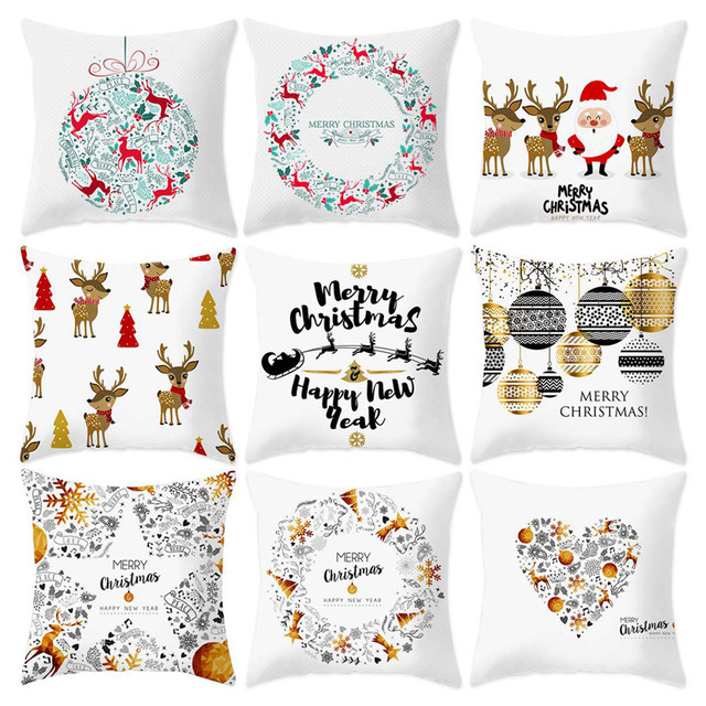 45X45CM Pillow Case Merry Christmas Decoration For Home 2019 Christmas Ornament Christmas Gift Cristmas Noel Happy New Year 2020 2