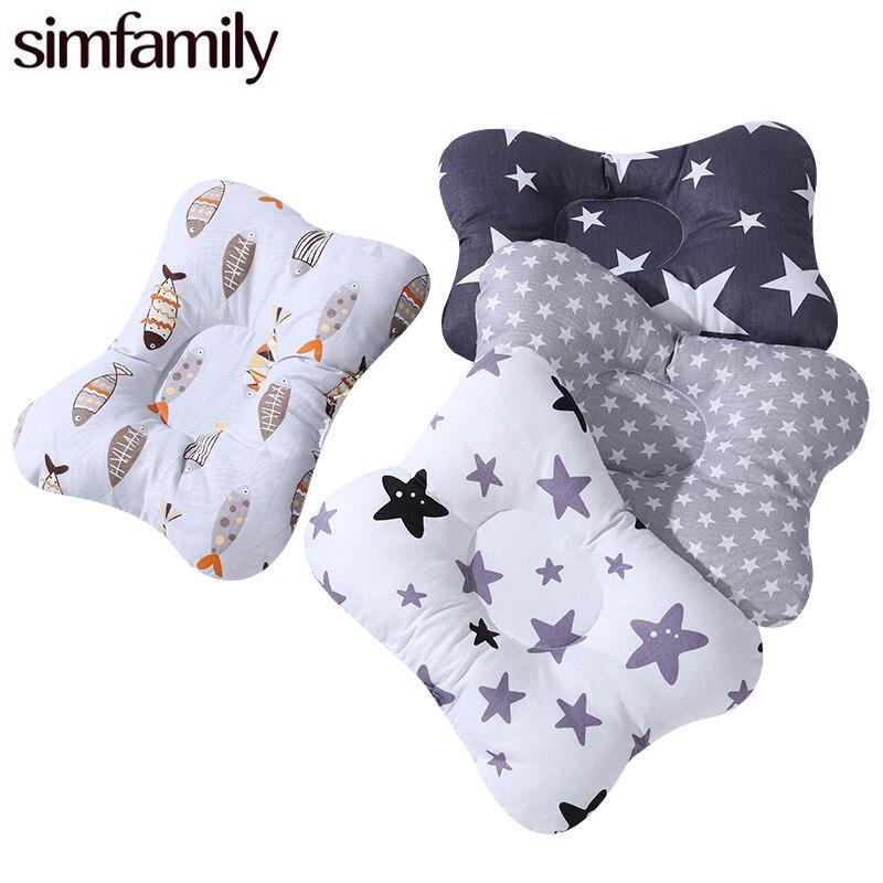 [Simfamily] travesseiro de enfermagem do bebê infantil recém-nascido sono apoio côncavo dos desenhos animados travesseiro impresso moldar almofada evitar cabeça plana
