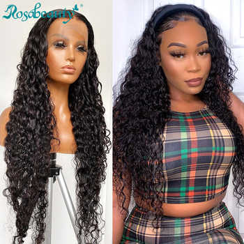 Rosabeauty 26 Inch glueless Long Curly Lace Front Human Hair Wigs pre plucked Brazilian Deep Wave Frontal Wig Water Wave - DISCOUNT ITEM  60 OFF Hair Extensions & Wigs