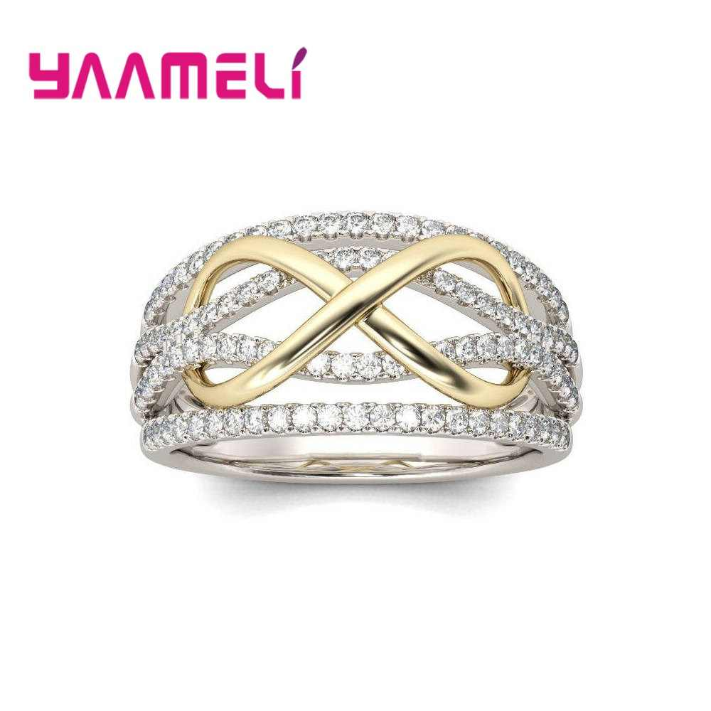 925 Sterling Silver Infinity Ring ใส Cubic Zircon Eternity Love Charms