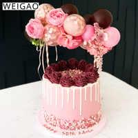 WEIGAO 5 pulgadas Rosa oro confeti globo pastel Toppers cumpleaños pastel boda decoración Mini globo Topper artesanías para cumpleaños