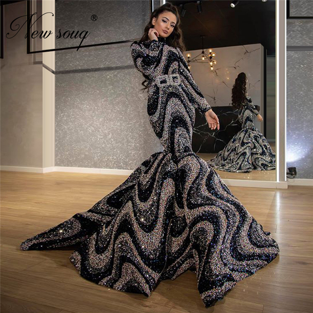 Muslim Glitter Evening Dresses Arabic Party Dress 2020 Dubai Long Formal Women Prom Gowns Middle East Kaftans Robe De Soiree