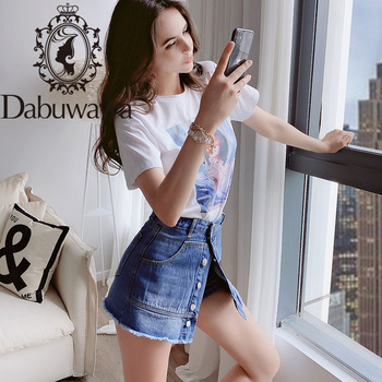 цена на Dabuwawa Blue Frayed Edge Ripped Detail Denim Skirts Womens Summer Button Front Mid Waist Casual Mini Skirt Female DN1BQK004