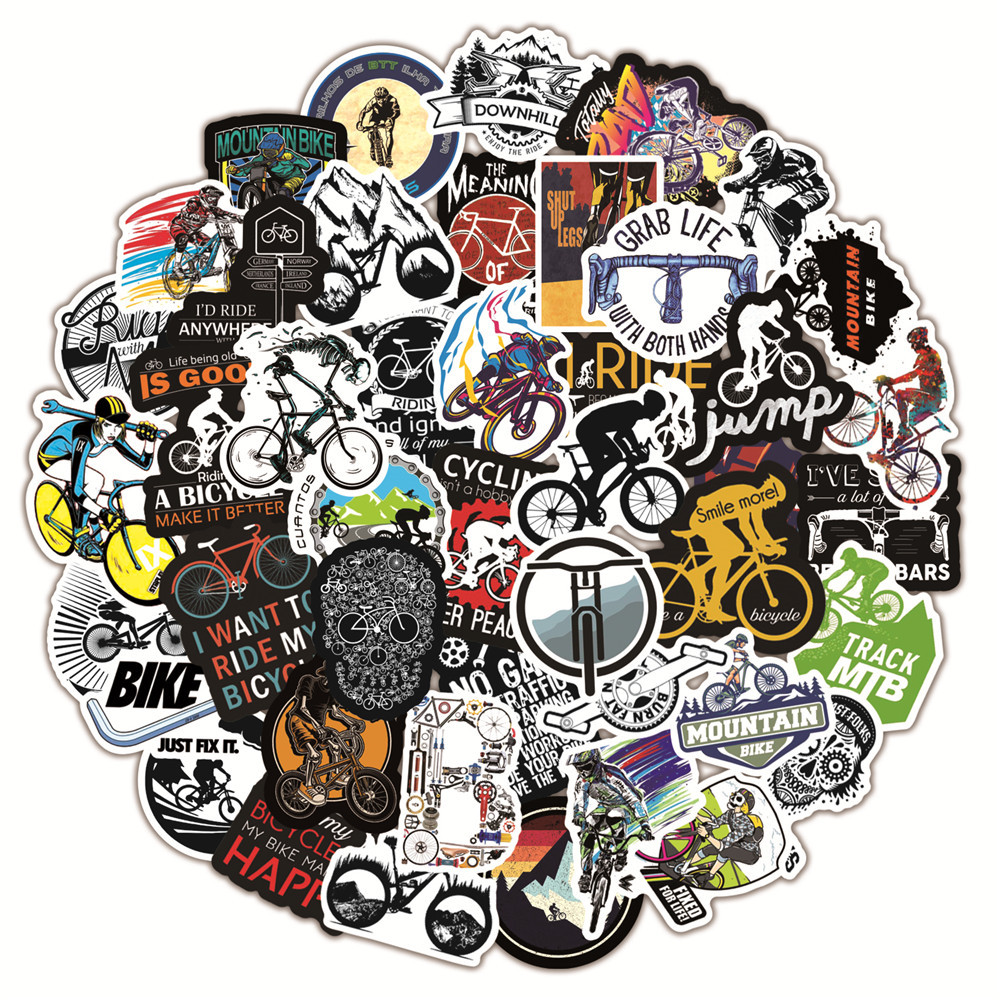 TD ZW 50pcs/Lot Outdoor Bicycle Stickers for Mountain Bike Riding Travel Luggage Car Skateboard Pvc Waterproof Decal Sticker