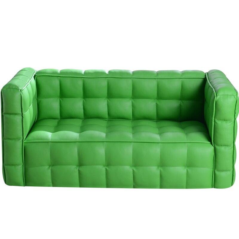 Green Lattice Comfortable Children Sofa Lovely Cartoon Solid Wood Sofa Simplicity Modern Pu Skin Baby Sofa Bean Bag Zitzak