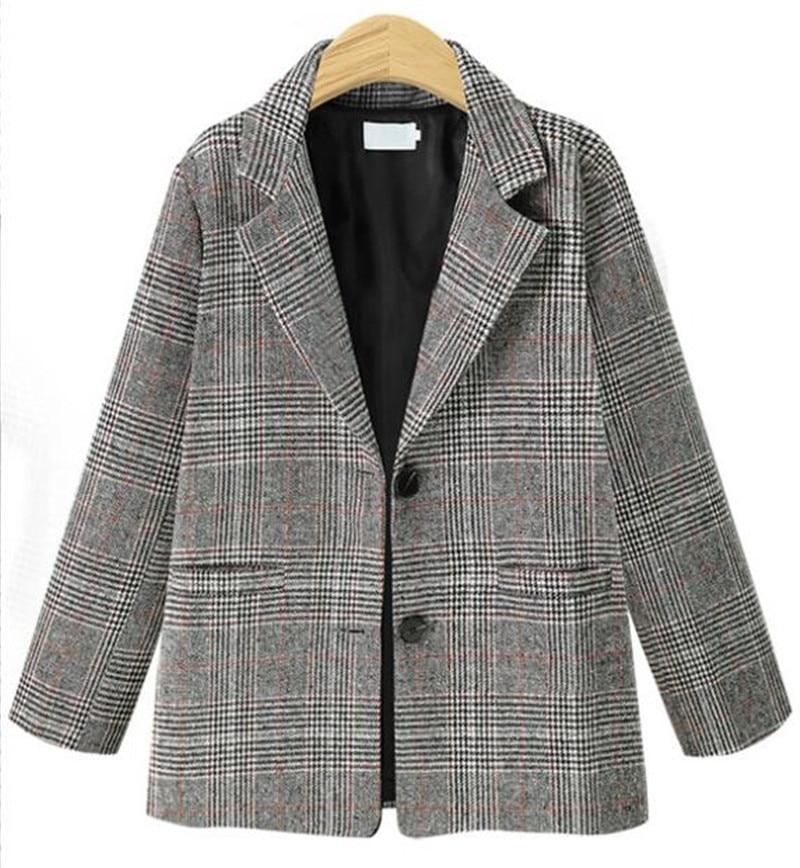 Spring Autumn Women Plaid Blazer Long Sleeve Outwear Pocket Turn Doan Collar Women Jacket Vintage Ladies Blazer P792