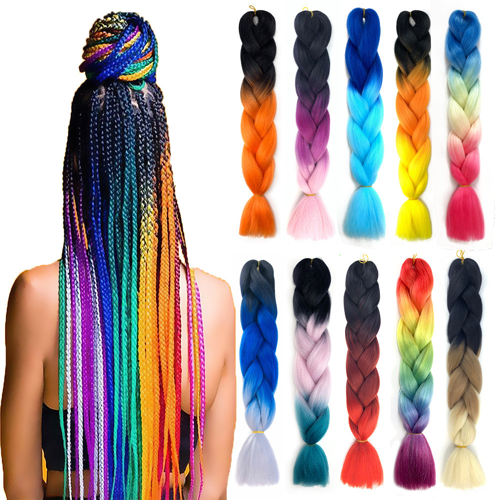 Synthetic Hair Jumbo Braid 24 Inch False Braid Pre Stretched Afro Wholesale Ombre Braiding Hair Extensions Color Dreadlocks
