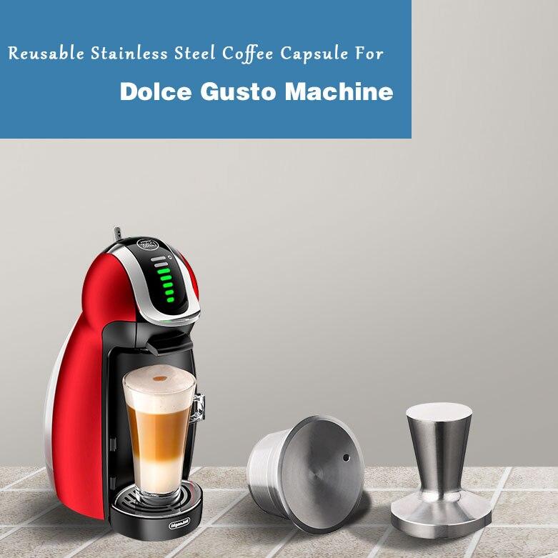 سلال فلاتر دولتشي غوستو من الفولاذ المقاوم للصدأ ، كبسولات كابسولا قابلة لإعادة الاستخدام لدولتشي غوستو ، كوب جراب معدني قابل لإعادة الملءمرشحات القهوةالمنزل والحديقة -