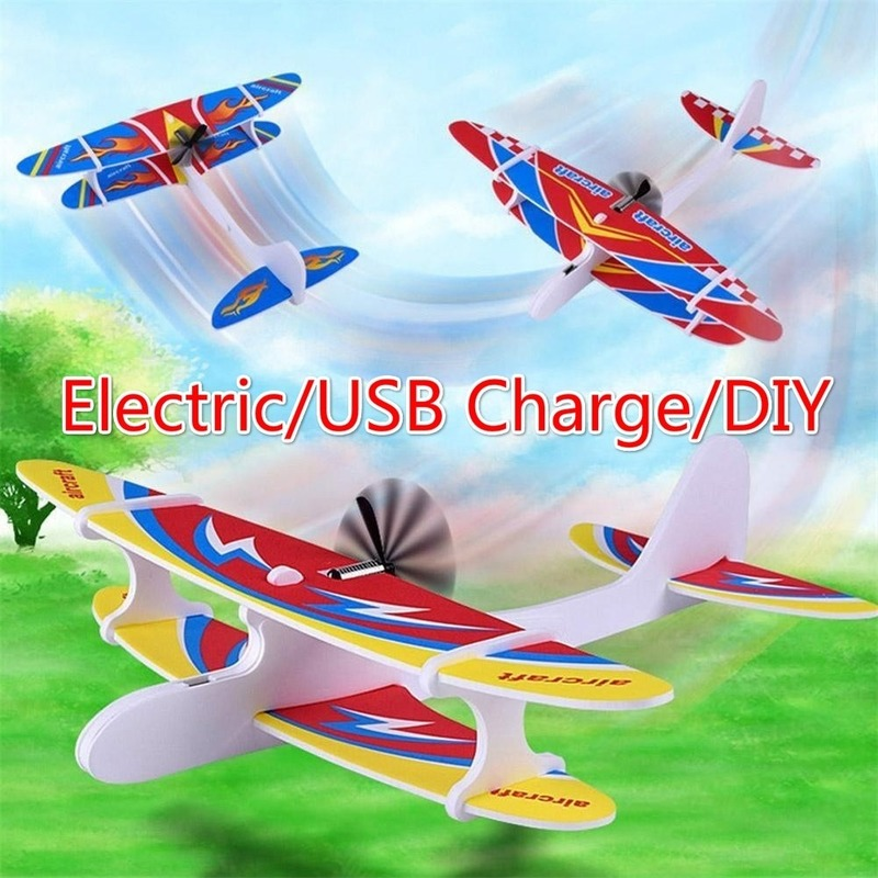 DIY Airplane Toys Throwing Foam Plane Electric Glider Plane Flying Toy Gifts for Kids Outdoor Sport Toys Birthday Foam Biplane