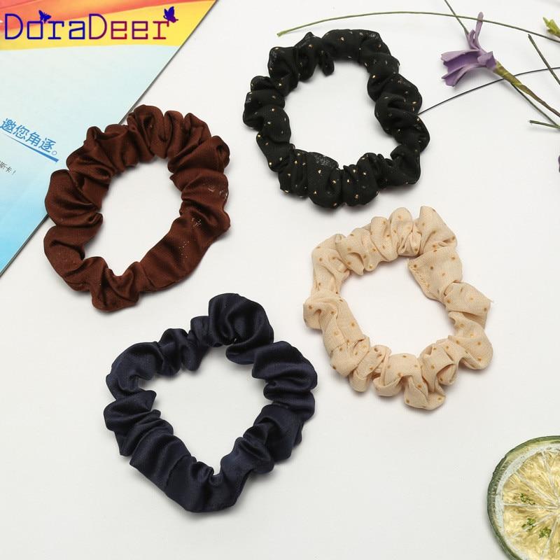 DoraDeer резинка для волос для девочек в горошек, аксессуары для волос, Женские Черные Банданы, конский хвост, повязка для волос, повязки