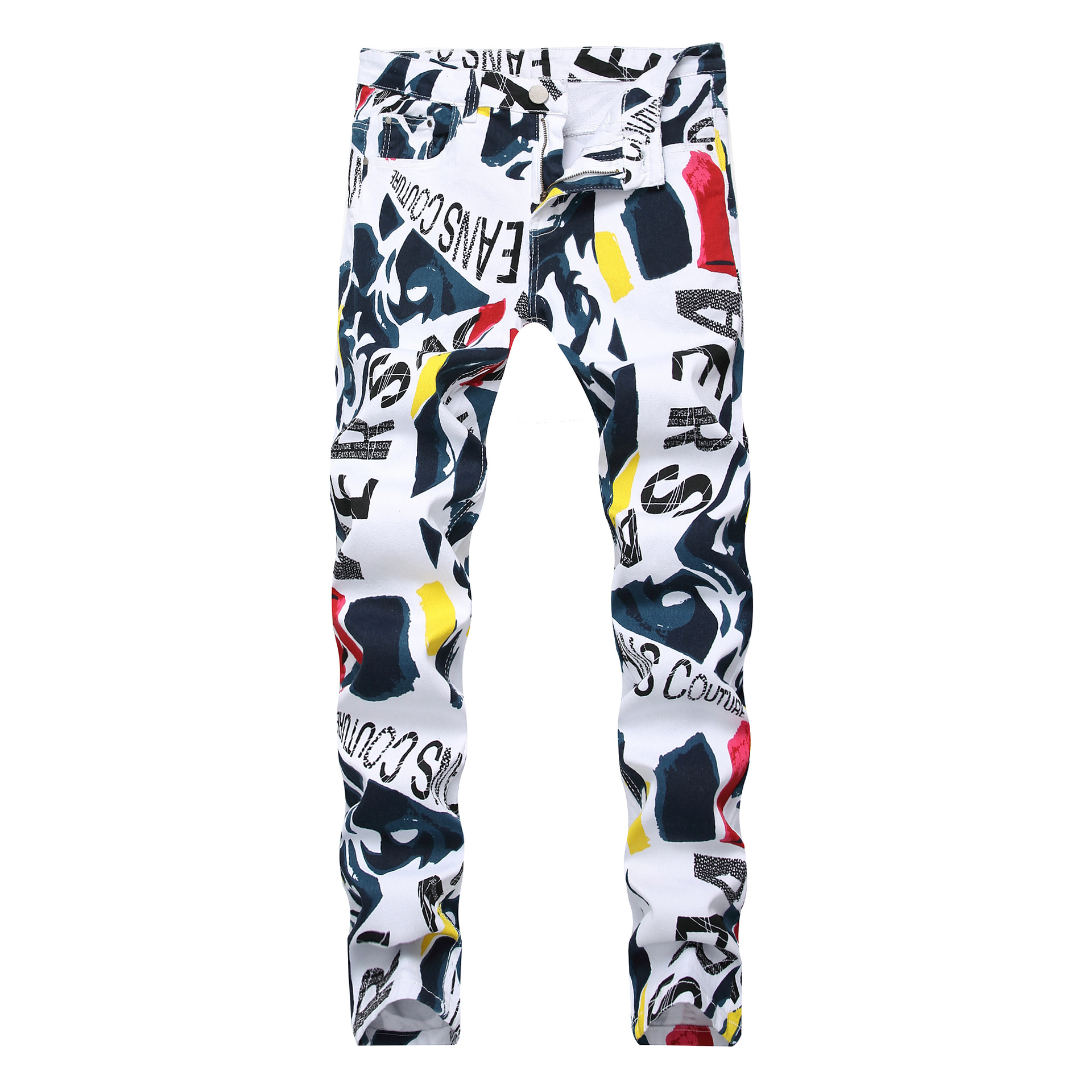 Cross Border Foreign Trade Men White With Printed Pattern Elasticity Casual Jeans Wish Slim Fit MEN'S Trousers