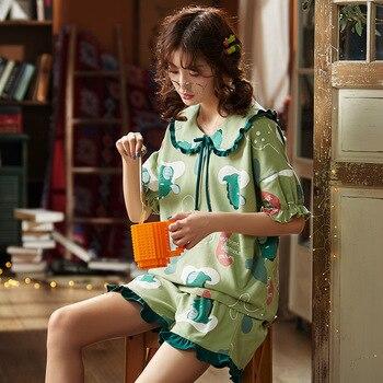 Pajamas Set Women Pyjamas Sleepwear Night suit Pyjama Mujer Home Wear 2020 Summer Cartoon 100% Cotton Nightwear