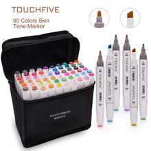 цена на TOUCHFIVE Markers Pen 60 80 Color Art Sketch Twin Marker Pens Broad Fine Point Graphic Manga Anime Markers Graffiti Art Supplies