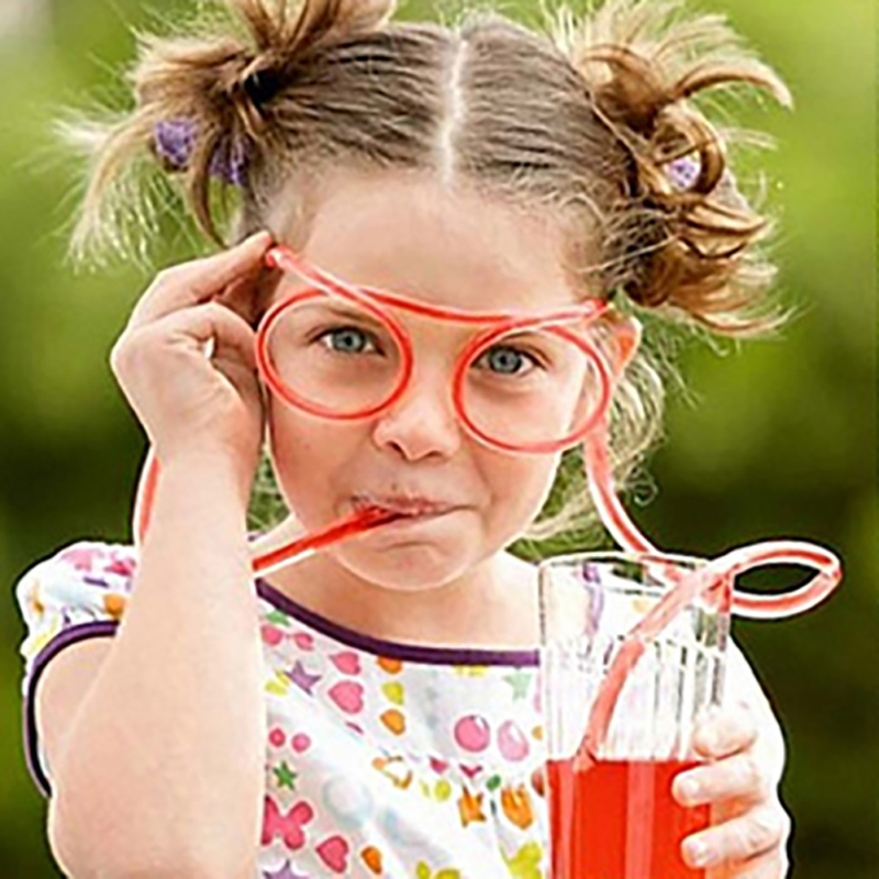 Funny Soft Plastic Straw Glasses Flexible Drinking Straws Tube Tools Kids Children Party Supplies Bar