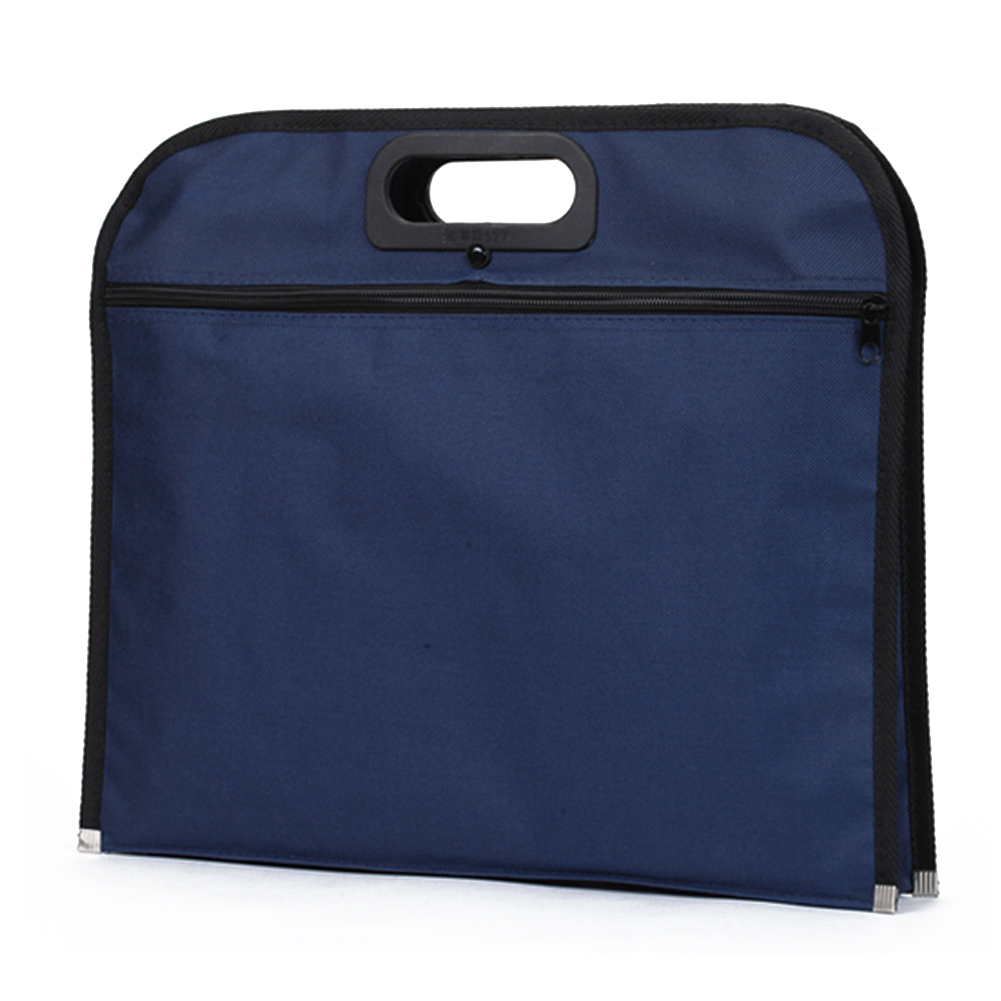 Large Capacity With Handle File Bag Oxford Cloth Blue Scratch Proof Multipurpose Zipper Closure Solid Conference Document Holder