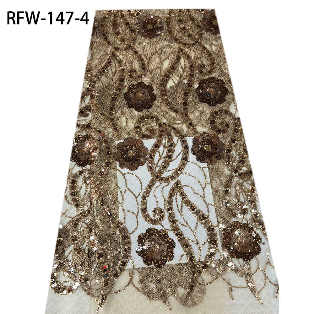 Африканская кружевная ткань 2020 высокое качество французская Сетка кружевная ткань с блестками 3D кружевная вышивка для свадебного платья RFW-147
