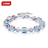 Genuine 925 Sterling Silver Austrian crystal sugar cube bracelet shine AB color exquisite luxury fashion bracelet jewelry