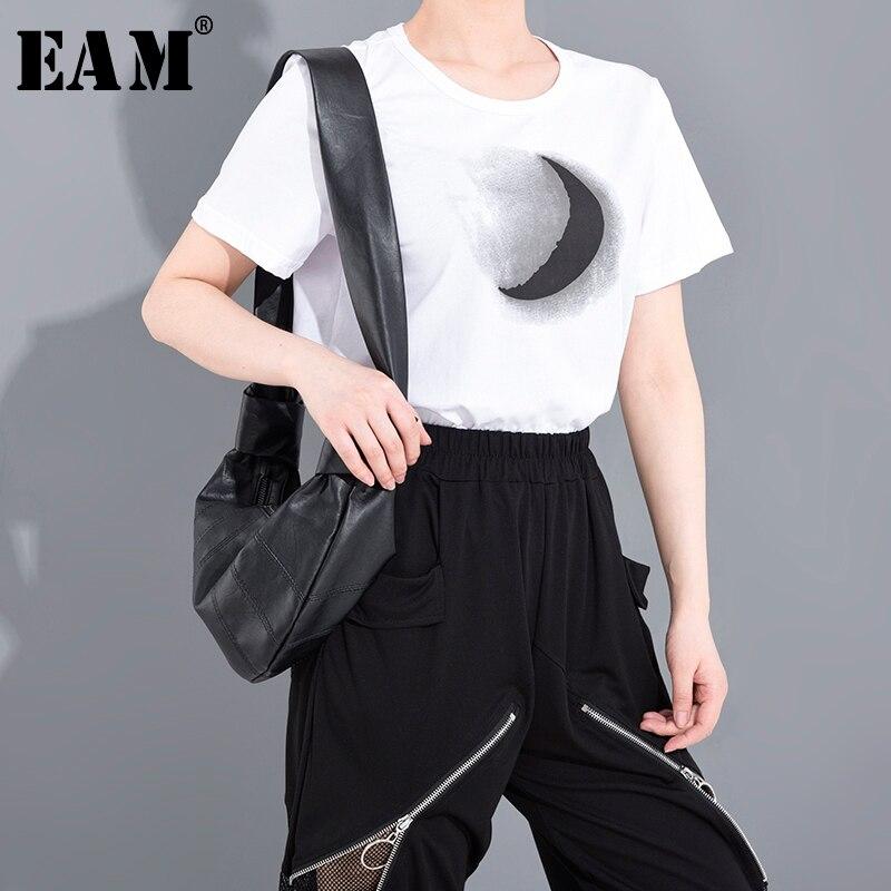 [EAM] Women White Pattern Printed Temperament T-shirt New Round Neck Short Sleeve  Fashion Tide  Spring Summer 2020 1W03100 1