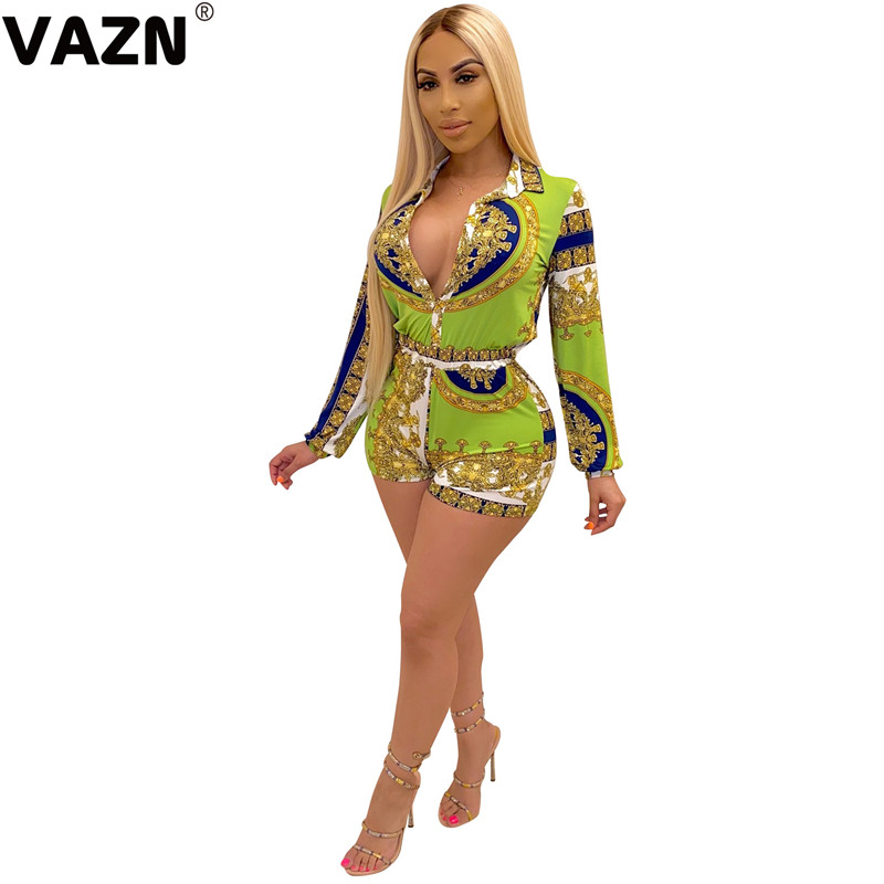 VAZN 2020 Spring Office Party Print Rompers Womens Jumpsuit Sexy Fashion O neck Sort Sleeve Bandage Playsuits
