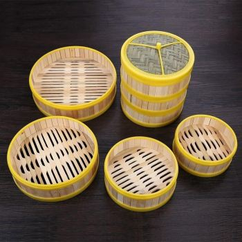 Купить со скидкой Steamer cooking utensils 13-30cm one cage or one cover steamer bamboo steamer fish rice vegetable sn