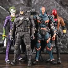 Figuras de acción de DC multiversal AZ BAT Grim Knight Arkham Joker Deathstroke, hombre de estado de ánimo rojo, muñecos originales Mcfarlane, juguetes usados, 7