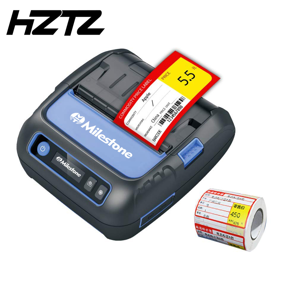 Milestone Portable Bluetooth Label Printer 58/80mm Thermal Receipt/Barcode Printer Sticker For Mobile Phone Android IOS