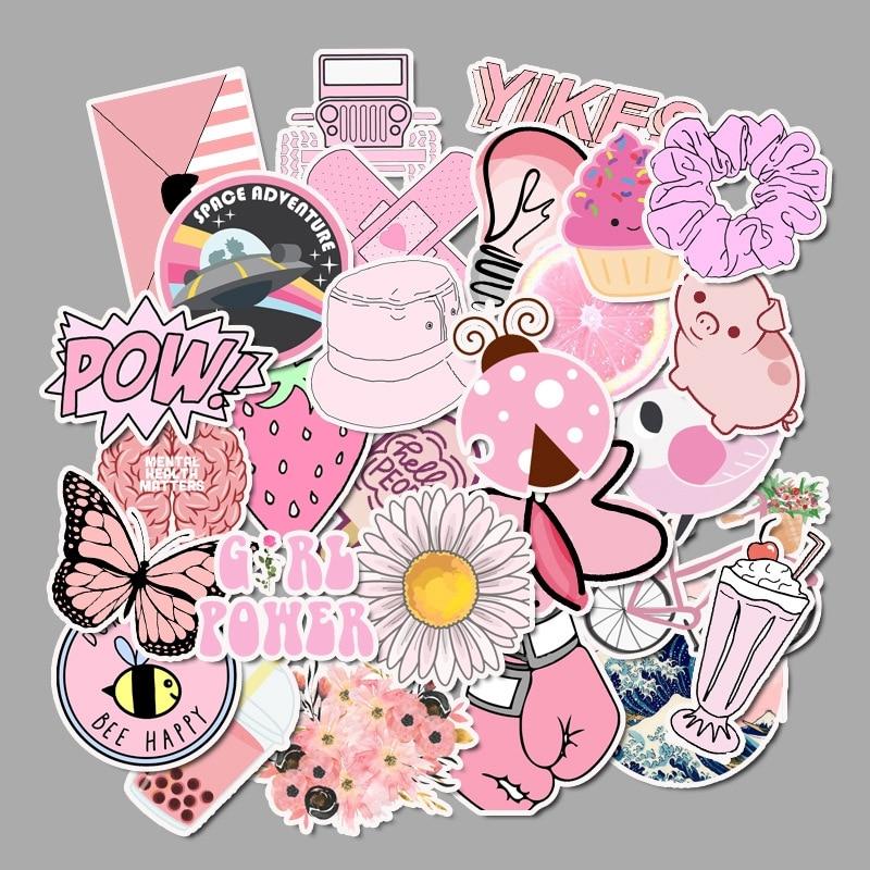 50pcs Vsco Girl Stickers Waterproof Skateboard Scrapbook Suitcase Pink Sticker Pack Animal Laptop Racing Kid Stiker For Children