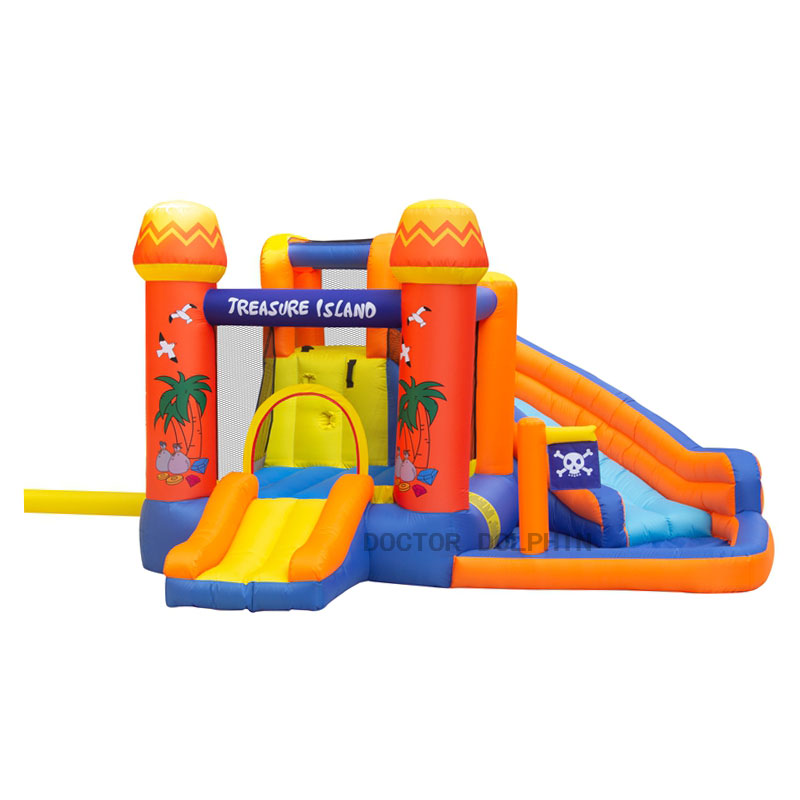 Outdoor Golden Island Jump Bouncy Bouncer Inflatable Home Slide Castle House For Kids Playground Trampoline Pool Game