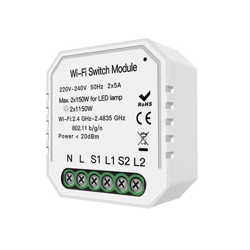 Wifi Smart Light Switch Diy Breaker Module Smart Life/Tuya App Remote Control,Working with for Alexa Echo Google Home 2 Gang 2 W 1