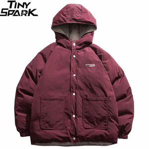 Image 2 - 2019 Streetwear Hip Hop Reversible Jacket Parka Men Padded Jacket Windbreaker Harajuku Puffer Coat Warm Hooded Outwear Loose New
