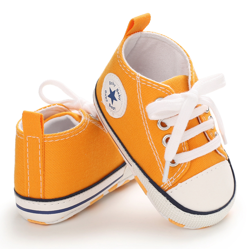 Baby Shoes Boy Girl Star Sneaker Cotton Soft Anti-Slip Sole Newborn Infant First Walkers Toddler Casual Canvas Toddler Crib Shoe