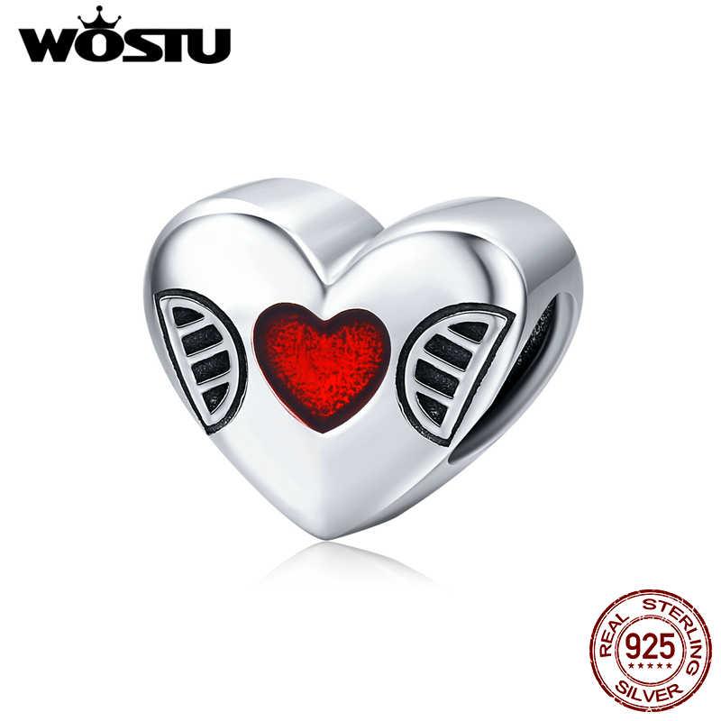 WOSTU prawdziwe 925 srebro otwórz swoje serce koraliki Fit oryginalna bransoletka wisiorek czerwony emalia Charms biżuteria ślubna CQC1427