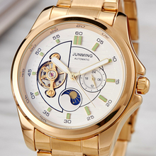 Automatic Mechanical Watch Men Luxury Skeleton Moon Phase Stainless Steel Leather Watches Self-wind Wristwatch Male Casual Clock new luxury fashion mens automatic mechanical watches carnival men moon phase clock male stainless steel gold watch montres homme