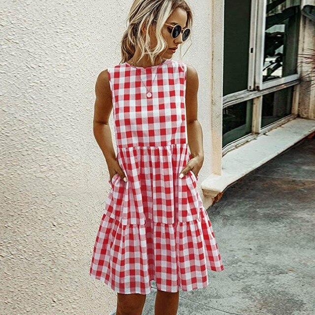 Women Summer Dresses Plaid Sleeveless Casual Sundress A Line Mini Dress Pocket O Neck Loose Beach Dresses Vestidos De Verano 6