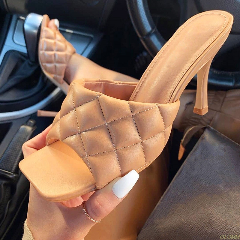 Summer Women Slippers Ladies PU Plaid Thin High Heels Ladies Sandals Female Fashion Gingham Slides Shoes Woman Footwaer Mujer