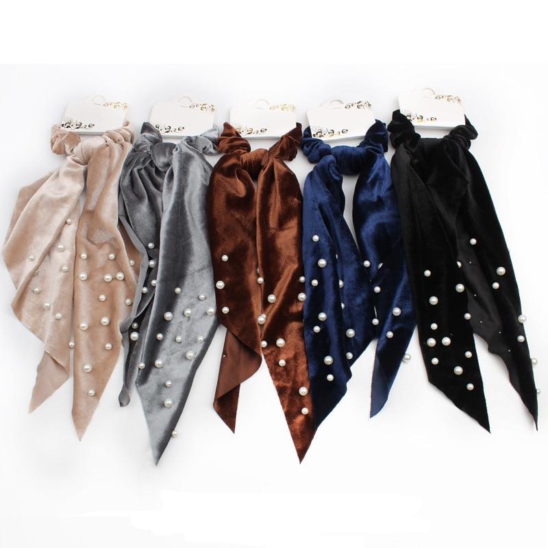 New Solid Pearls Hair Scarf Scrunchies Rope For Women Girls Hair Accessories Velvet Elastic Hair Bands Ties Ponytail Holder