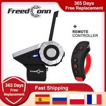 FreedConn T-REX Motorcycle Bluetooth Group Intercom Helmet Headset 1500M 8 Riders Wireless Communicator FM +L3 Remote Contro