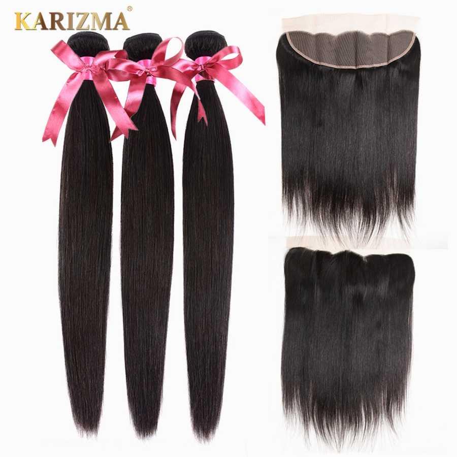 Mechones de pelo indio Karizma con cierre 13X4 Frontal 100% cabello humano no Remy tejidos mechones rectos con Frontal se pueden teñir