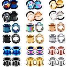 Tampões e sintonizadores de aço inoxidável, 2 peças, tampões de medidor de ouvido de aço inox 1.6-30mm, faixa expansora de carne, piercing orha dilatações joias