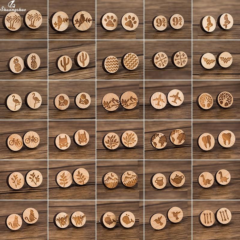 Shuangshuo маленькие милые деревянные серьги ювелирные изделия круглые деревянные серьги Древо жизни ананас волна серьги-гвоздики для женщин д...