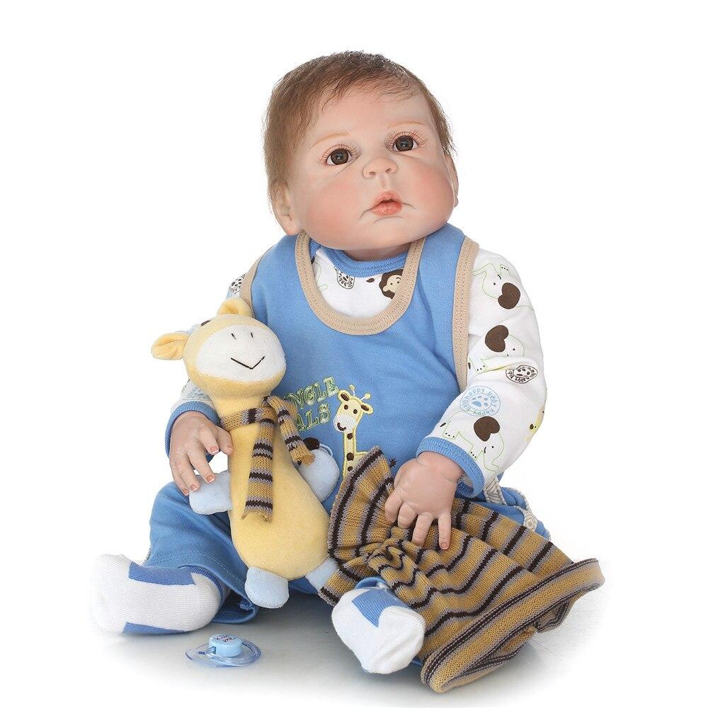 "NPK Doll bebe reborn cameron awake boy newborn full silicone baby reborn reborn doll toys 23"" 57cm children gift dolls"